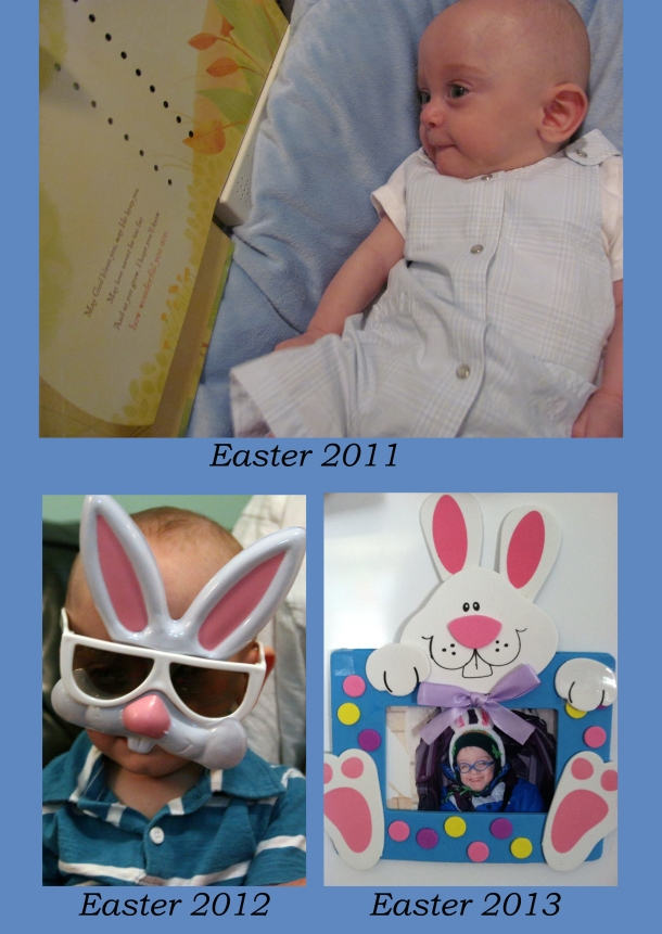 James is such a good sport with rabbit glasses and bunny ears!