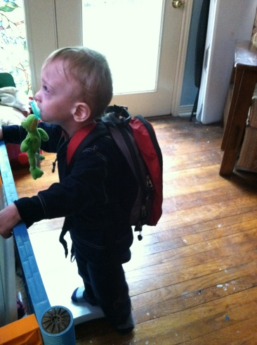 The backpack gives him just enough weight to help calm him from constant running.