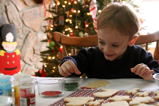 We had so much fun decorating Christmas cookies with our munchkin.